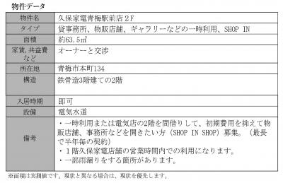 物件情報⑦ 久保家電青梅駅前店2F